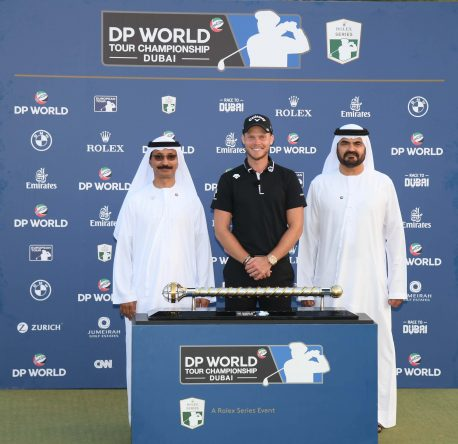 Sultan Ahmed Bin Sulayem, Chairman CEO DP World 2018 DP World Tour Championship, winner Danny Willett and Mohammed Al Muellem, Managing Director DP World, during the final round of the DP World Tour Championship at Jumeirah Golf Estates on November 18, 2018 in Dubai, United Arab Emirates.