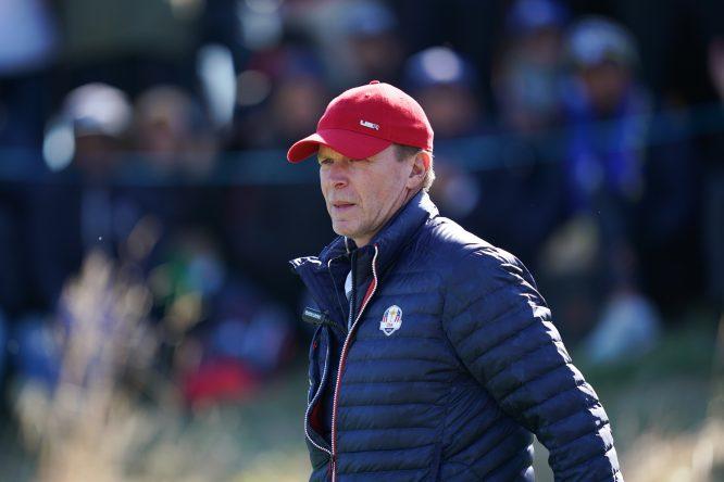 Steve Stricker, en París, como asistente de Jim Furyk. Photo by Darren Carroll/PGA of America