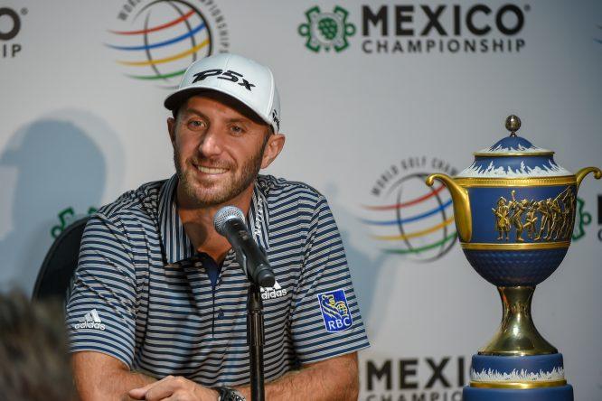 Dustin Johnson en la rueda de prensa tras su victoria en el WGC Mexico Championship. © Golffile | Ken Murray