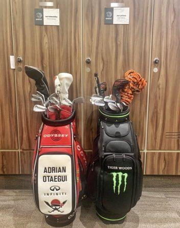 Las bolsas de Otaegui y Tiger Woods en el locker room de Chapultepec. © Rocket Yard