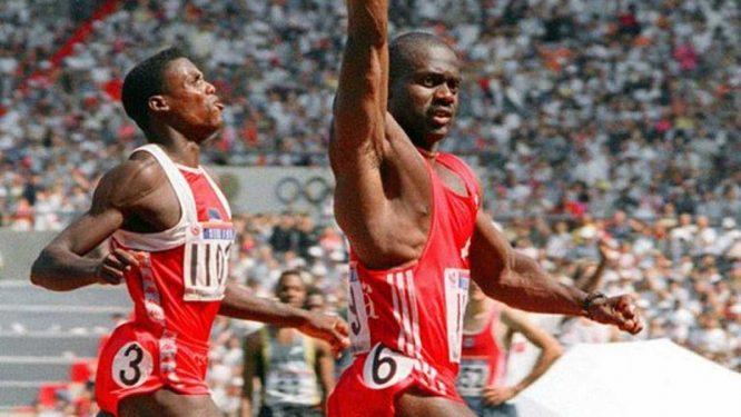 Ben Johnson y Carl Lewis en los Juegos de Seúl 1988.