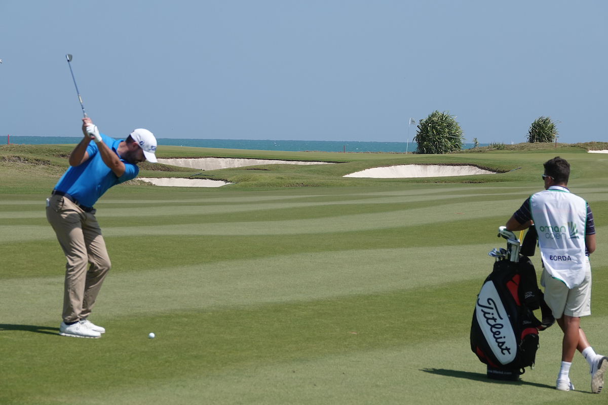 David Borda en la jornada final en Al Mouj Golf. © Golffile | Phil Inglis