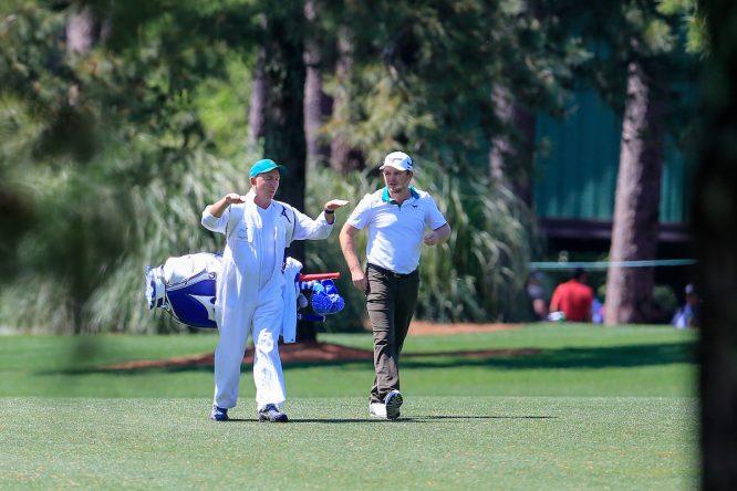 Eddie Pepperell, durante su vuelta de prácticas del martes en Augusta. © Golffile | Fran Caffrey