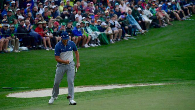 Jon Rahm en la primera jornada en Augusta National durante el Masters 2018.