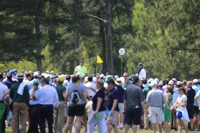 Jon Rahm, durante la primera vuelta del Masters. © Golffile | Fran Caffrey