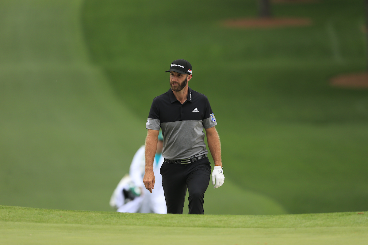 Dustin Johnson en la jornada del domingo en Augusta National. © Golffile | Fran Caffrey