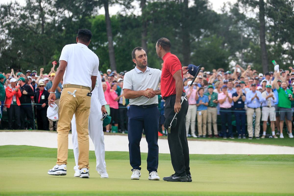 Tiger Woods y Francesco Molinari en la jornada final del Masters. © Golffile | Fran Caffrey