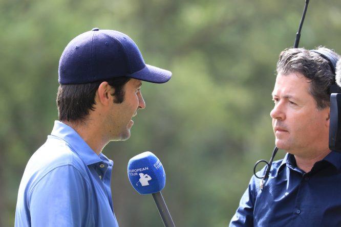 Jorge Campillo, durante la entrevista con el irlandés Shane O'Donoghue. © Golffile | Phil Inglis
