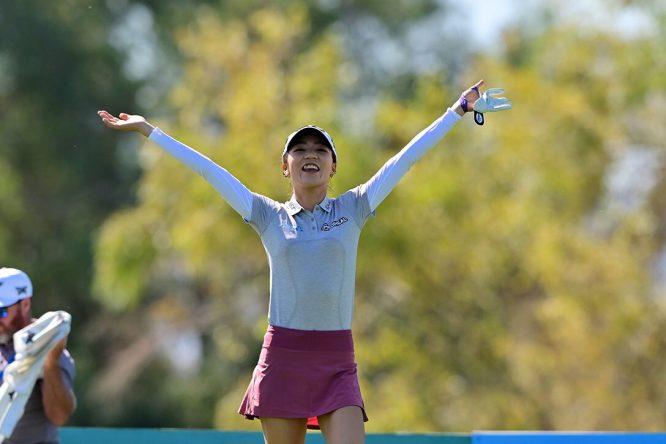 Lydia Ko sonríe durante la vuelta de prácticas de este martes en el ANA Inspiration. © LPGA