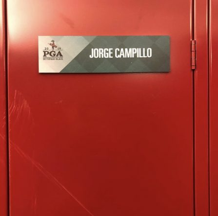 La puerta de la taquilla de Jorge Campillo en el Bethpage Golf Club esta semana.