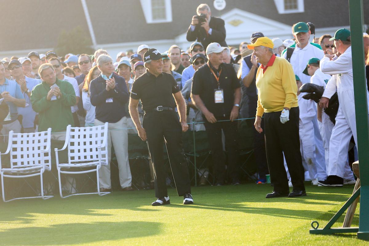 Gary Player y Jack Nicklaus este año en el Masters de Augusta. © Golffile | Fran Caffrey