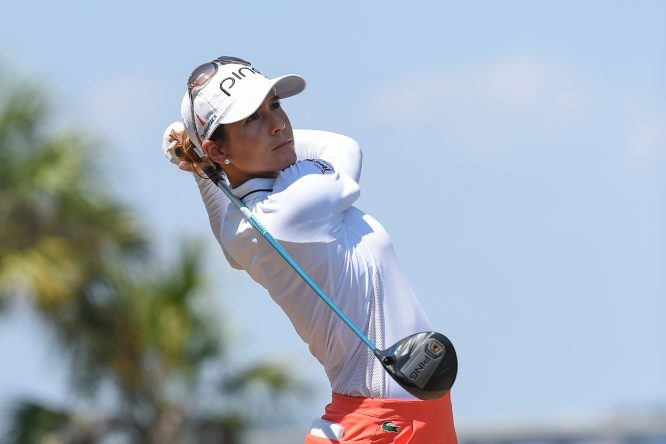 Azahara Muñoz, durante la primera ronda en el US Open. © Golffile | Ken Murray