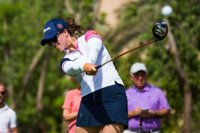 Nuria Iturrios, hoy durante la última ronda en Dubai. © Tristan Jones