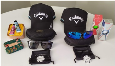 Detalle del welcome pack para acompañantes y jugadores con productos Callaway, Fairway y L'occitane.