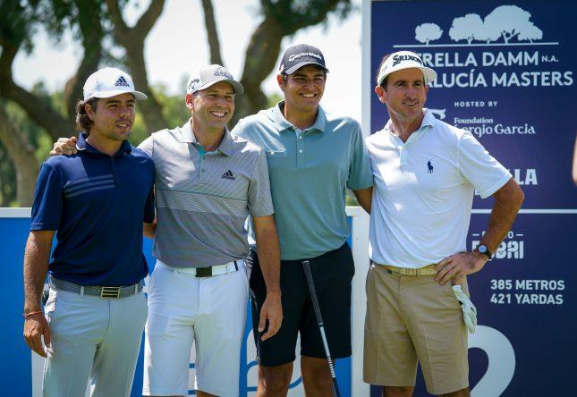 De izquierda a derecha: Alejandro del Rey, Sergio García, Eugenio López Chacarra y Gonzalo Fernández Castaño hoy en Valderrama.