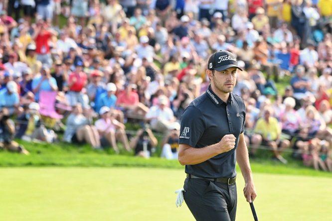 Patrick Cantlay celebra uno de los muchos putts que ha metido hoy. PGA Tour
