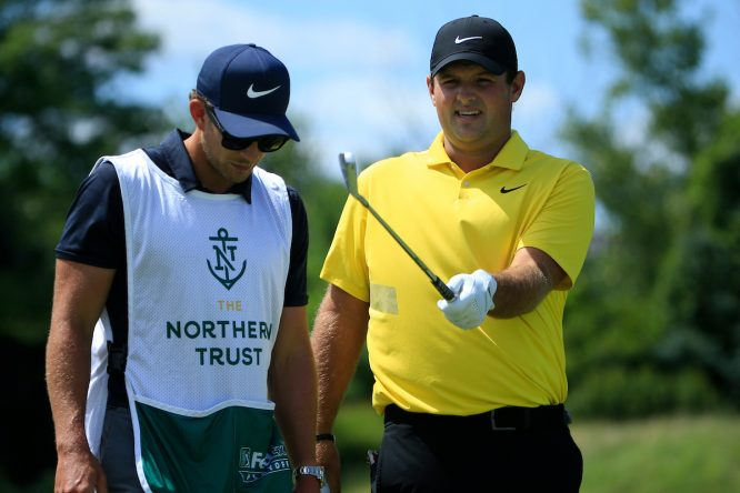 Patrick Reed, líder del Northern Trust, durante la tercera ronda en Liberty National Golf Club. © Golffile | Phil Inglis