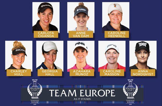 Las ocho clasificadas para el equipo europeo de la Solheim © LET