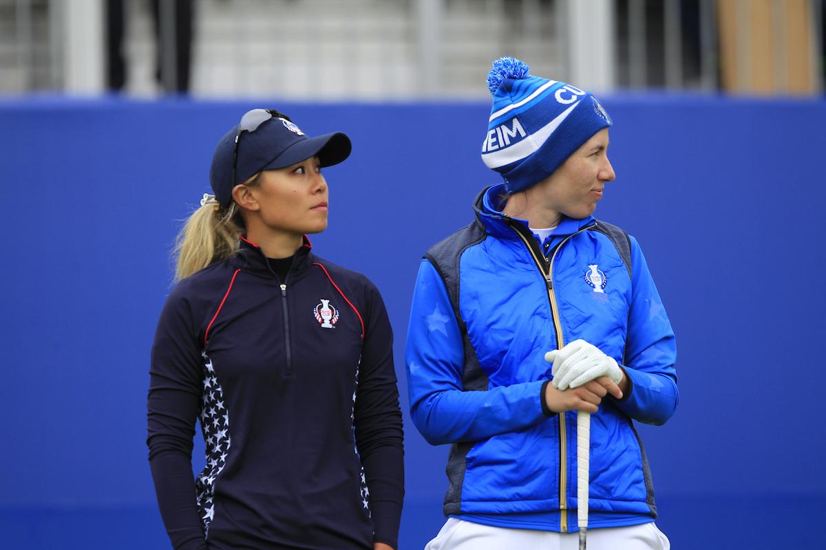 Danielle Kang y Carlota Ciganda en la jornada final de la Solheim Cup 2019. © Golffile | Thos Caffrey