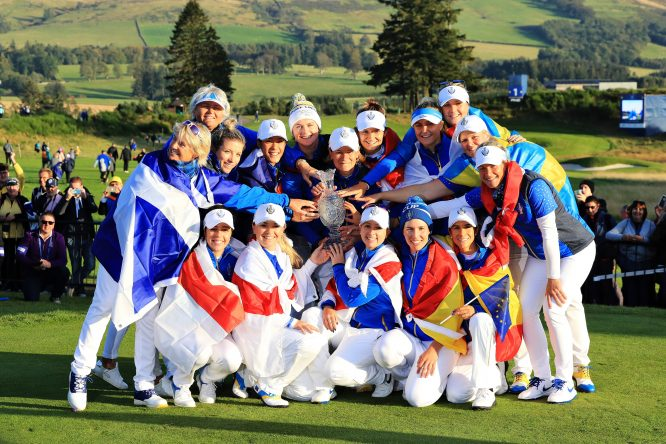 Team Europe celebrate winning the Solheim Cup during the final day singles matches of the Solheim Cup at Gleneagles on September 15, 2019 in Auchterarder, Scotland. (Photo by David Cannon/Getty Images)