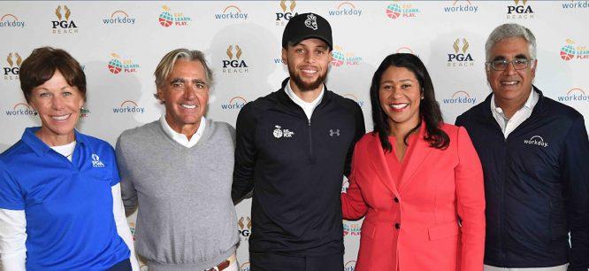Curry, junto al resto de organizadores © Getty Images