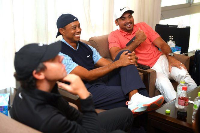 Day, con Tiger y Rory antes del evento © PGA Tour