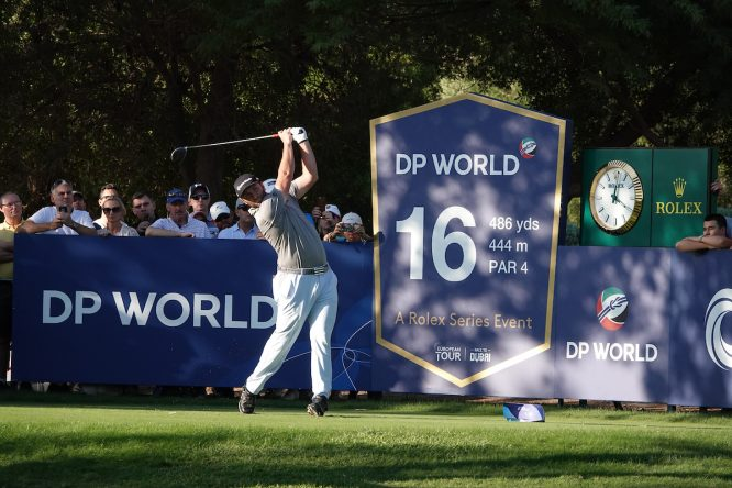 Jon Rahm en la segunda ronda del DP World Tour Championship. © Golffile | Phil Inglis