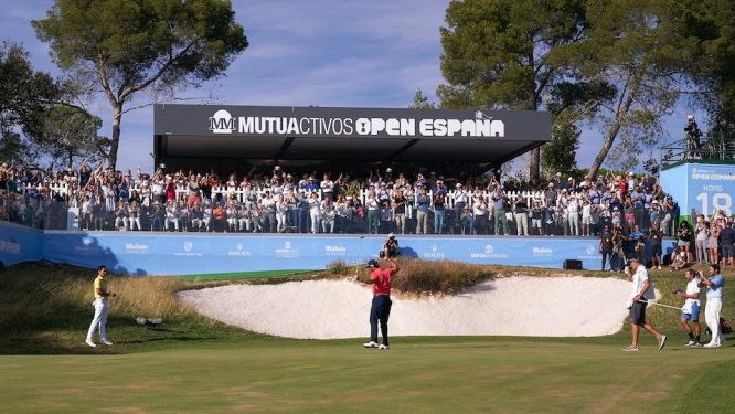 Rahm, celebrando la victoria en el Mutuactivos Open de España de 2019 © Mutuactivos Open de España