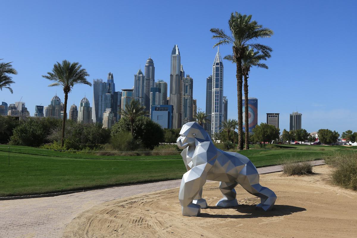 Escultura de Idriss B en el Emirates Golf Club. © Golffile | Thos Caffrey