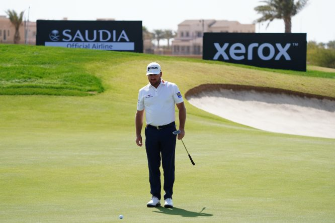 Graeme McDowell on the 7th during Round 1 of the Saudi International at the Royal Greens Golf and Country Club, King Abdullah Economic City, Saudi Arabia. © Golffile | Thos Caffrey
