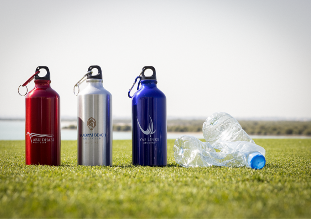 New branded water bottles at Abu Dhabi Golf Club, Saadiyat Beach Golf Club and Yas Links Abu Dhabi.