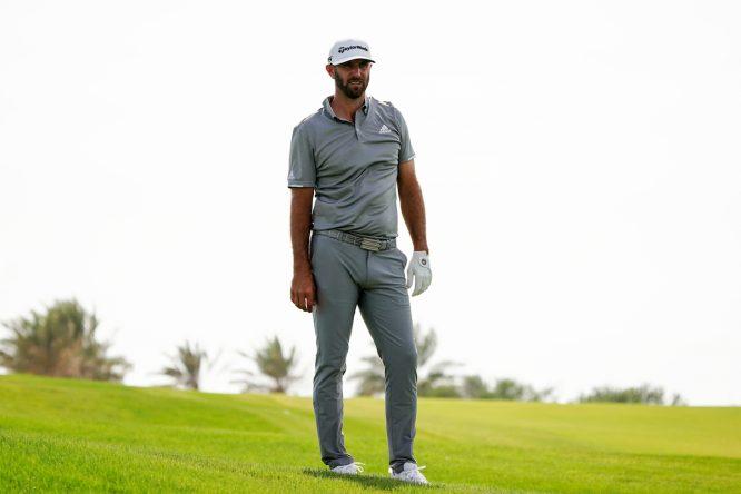 Dustin Johnson durante la ronda final del Saudi International. © Golffile | Thos Caffrey