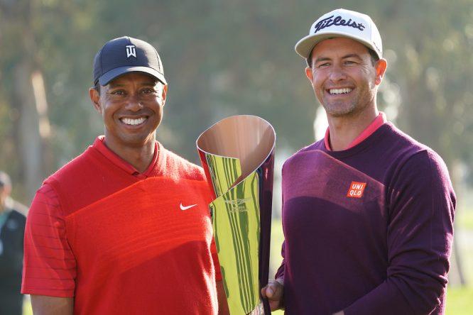 Adam Scott, con Tiger Woods en el Genesis © Golffile | Phil Inglis