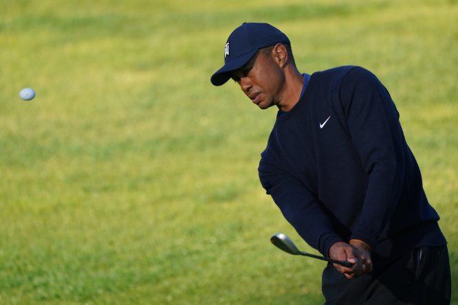 Tiger Woods esta semana en el Riviera Country Club. © Golffile | Phil Inglis