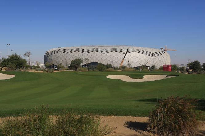 Vista del Education City Golf con el estadio Education City. © Golffile   Thos Caffrey