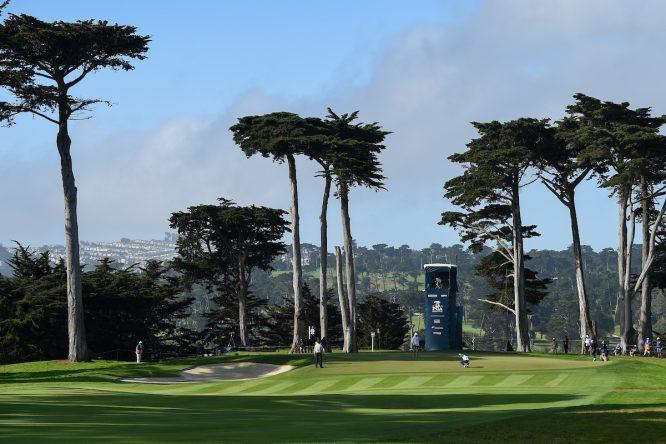 Vista del green del hoyo 13 del TPC Harding Park durante la segunda jornada del PGA Championship 2020. © Golffile | Ken Murray