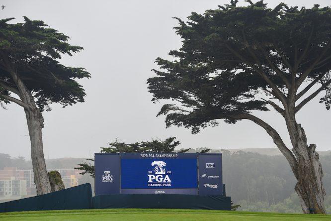 El green del hoyo 17 del TPC Harding Park durante la previa del PGA Championship 2020. © Golffile | Ken Murray
