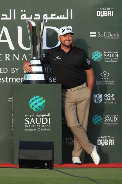 Graeme McDowell of Northern Ireland poses with the trophy during Day 4 of the Saudi International at Royal Greens Golf and Country Club on February 02, 2020 in  King Abdullah Economic City, Saudi Arabia. (Photo by Andrew Redington/WME IMG/WME IMG via Getty Images)