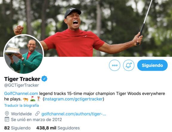 Perfil de Tiger Tracker en Twitter