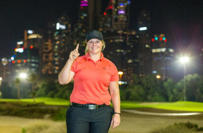 04/11/2020. Ladies European Tour 2020. Omega Dubai Moonlight Classic. Emirates Golf Club, Faldo Course, Dubai, United Arab Emirates. November 4-6 2020. Caroline Hedwall of Sweden celebrates a hole in one on the par 3 17th hole hitting a 6 iron 150 meters. Credit: Tristan Jones.
