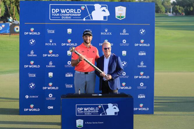 Jon Rahm, ganador el pasado año, con Keith Pelley © Golffile   Phil Inglis