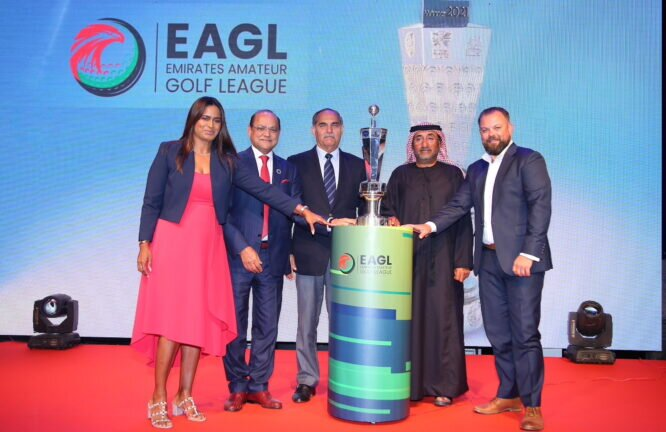 Mr Sudesh Aggarwal (2nd from left), Mr Taimur Hassan (centre) and Mr Khalid Mubarak Al Shamsi (2nd from right), along with Ms Priyaa Kumria, EAGL administrator (far left) and Mr Bobby Fiala of EGF (far right), at the launch of the newly conceptualised Emirates Amateur Golf League.