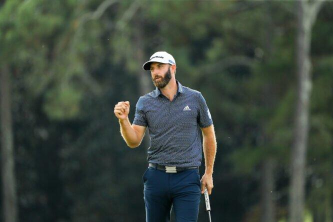 Dustin Johnson celebra su victoria en el Masters de Augusta 2020. © Golffile | Scott Halleran