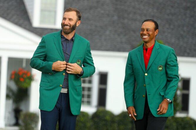 Dustin Johnson y Tiger Woods, en el Masters 2020 © Golffile | Scott Halleran