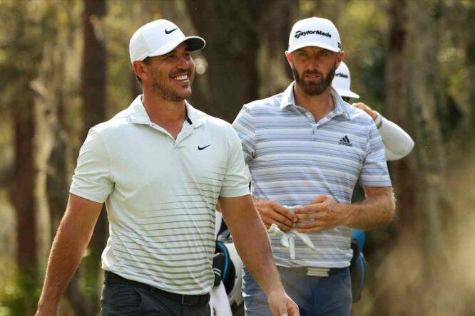 Brooks Koepka y Dustin Johnson durante la segunda jornada en The Concession Golf Club. © Golffile   Scott Halleran