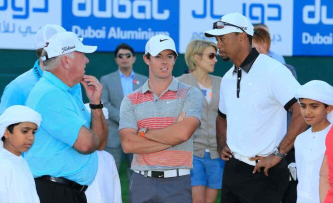 Mark O'Meara, Rory McIlroy y Tiger Woods en el Emirates Golf Club en 2014. © Golffile | Eoin Clarke