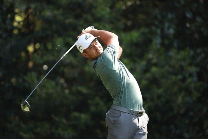 Xander Schauffele durante la ronda de prácticas del miércoles en Augusta National. © Golffile | Scott Halleran