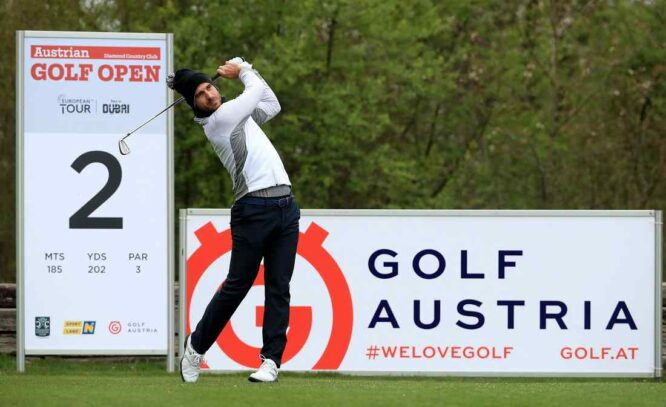 Alejandro Cañizares of Spain on the 2nd tee during the second round of the Austrian Golf Open at Diamond Country Club on April 16, 2021 in Atzenbrugg, Austria. (Photo by Andrew Redington/Getty Images)