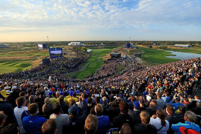 Rory McIlroy of Northern Ireland and the European Team plays his tee shot on the first hole in his match with Thorbjorn Olesen of Denmark against Brooks Koepka and Tony Finau of the United States during the morning fourball matches of the 2018 Ryder Cup at Le Golf National on September 28, 2018 in Paris, France. Photo by David Cannon/Getty Images