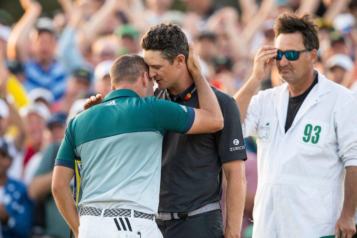 Sergio García y Justin Rose tras el play off de desempate en el Masters 2017. © The Masters